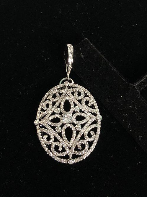 Oval silver decorative enhancer encrusted in Austrian crystal