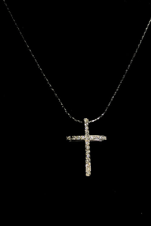 Silver crystal cross with silver chain