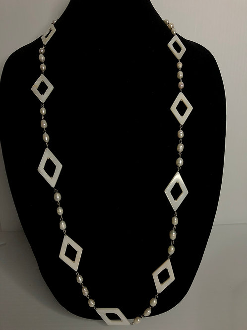 Freshwater pearls and Mother of Pearl gallery wrapped necklace