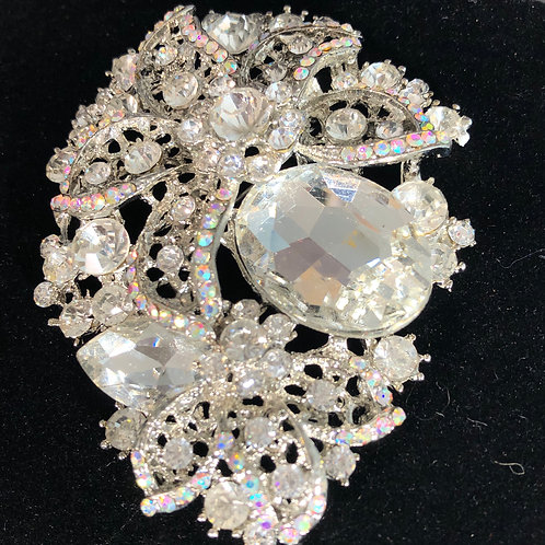 Large CLEAR Austrian crystal brooch