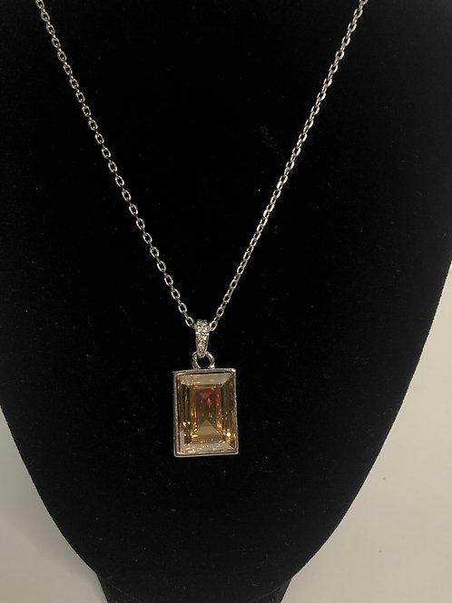 Swarovksi crystal rectangular pendant in stainless steel