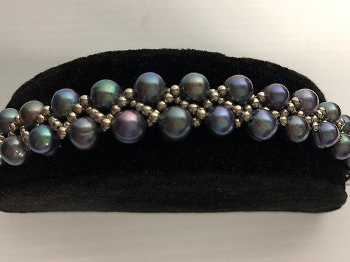 Braided Freshwater Cultured pearl bracelet