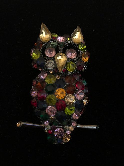 Multi colored Austrian crystal owl brooch