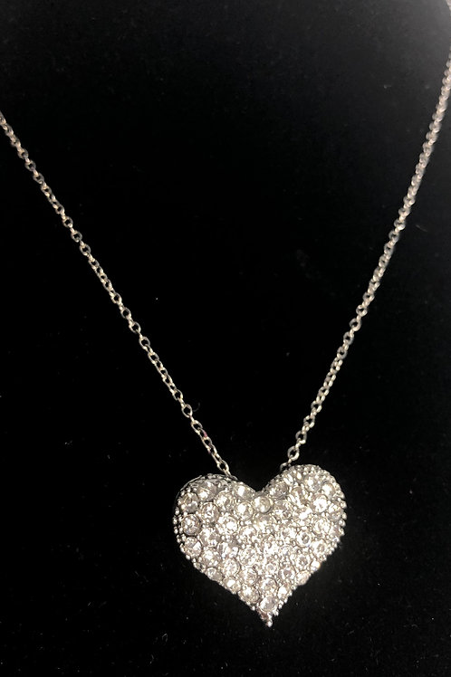 Silver Austrian crystal heart