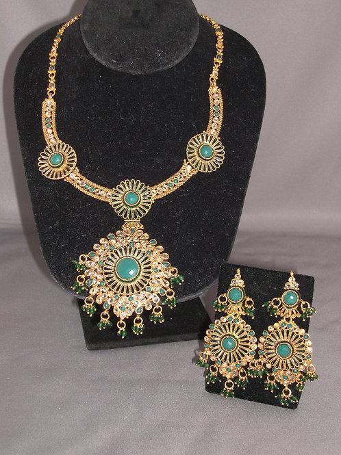 Green jade chandelier Indian set