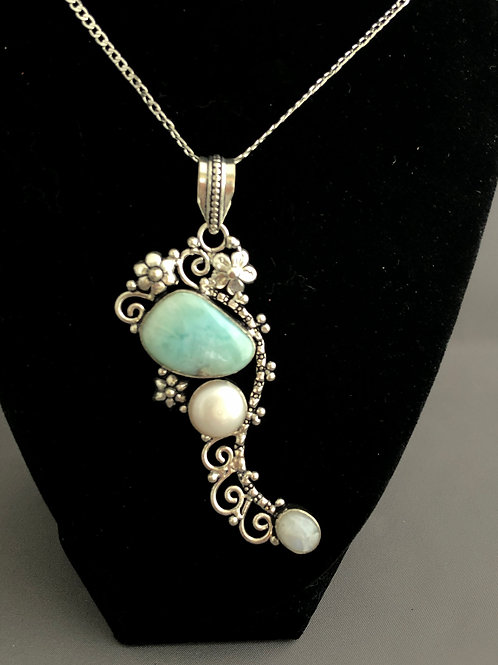 Sterling silver, Larimar and White freshwater pearl necklace