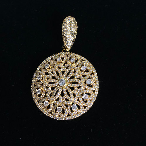 Gold Circle enhancer with encrusted Austrian crystal