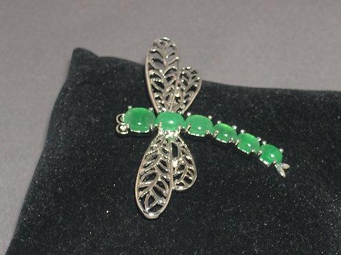 Green jade dragon fly brooch