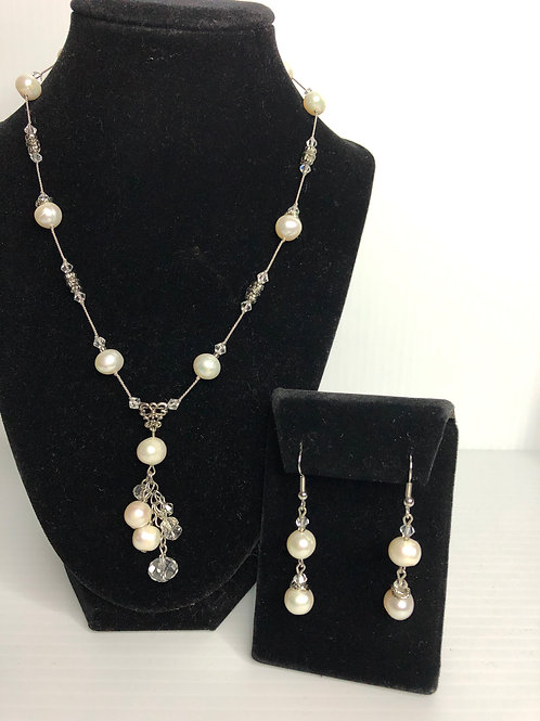 """""""Y"""" drop FWP necklace with clear crystals  and pierced earring set"""
