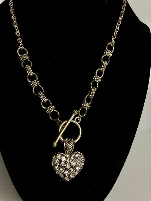 Silver chain heart necklace with clear crystal encased heart