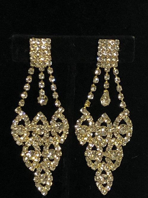 Gold chandelier clip on earrings