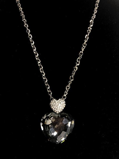 Smoky quartz heart necklace with Austrian crystals