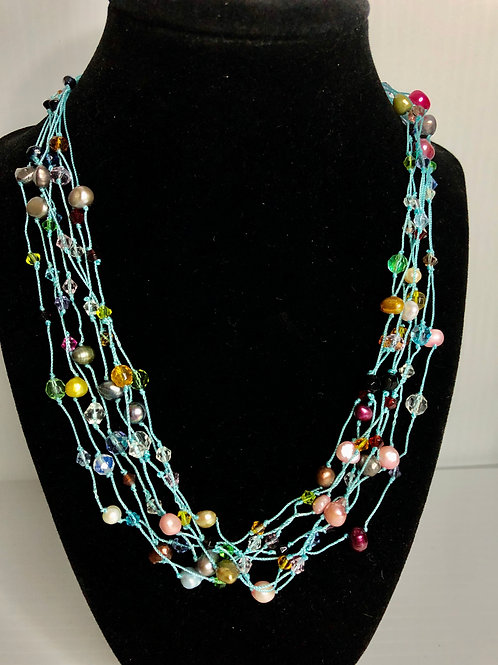 7 strand Sky Blue notted multi color FWP necklace