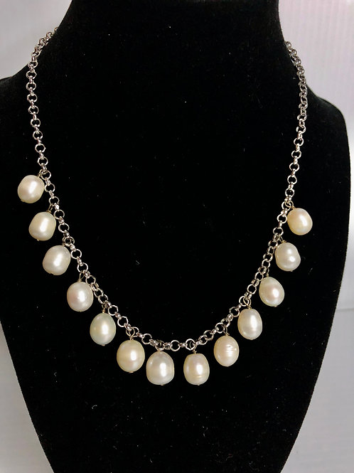 13 drop Freshwater pearl necklace with adjustable clasp