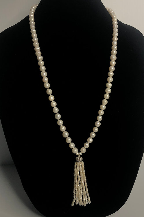 White Freshwater Cultured pearl tassel necklace all notted