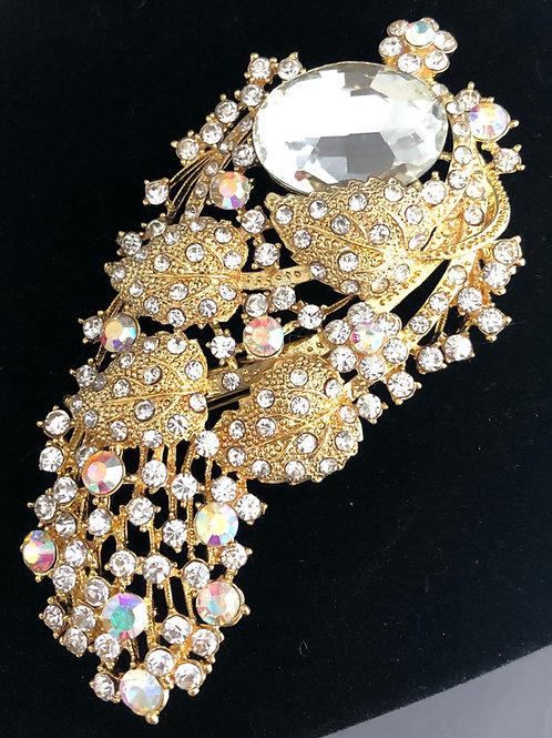 Large gold and Aurora Borealis crystal brooch