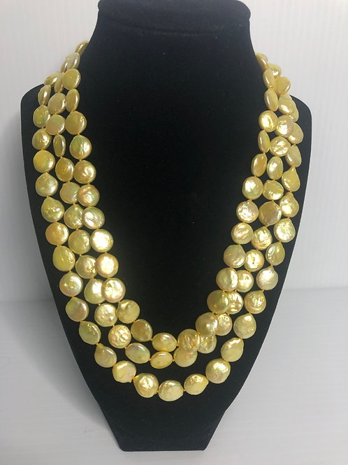 Triple strand Yellow FWP coin pearl necklace with S/S clasp