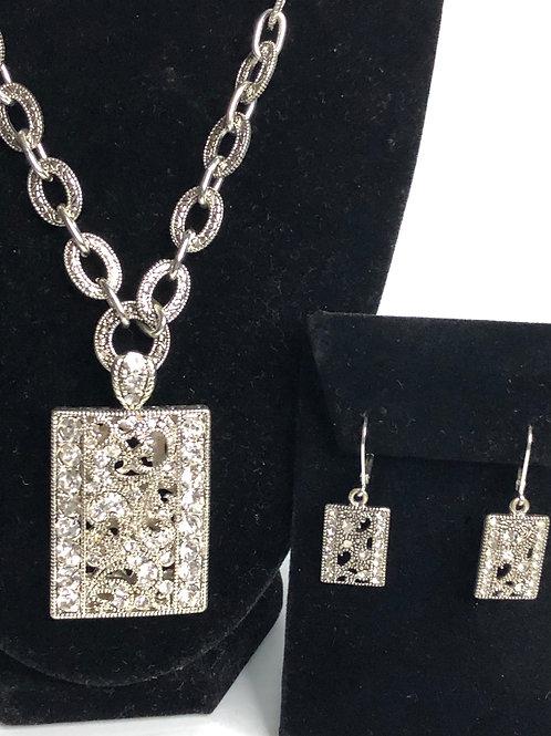 Designer  RECTANGULAR  pendant with earrings