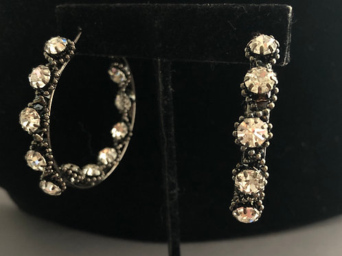 Black hoop earring  with clear crystals inside and out