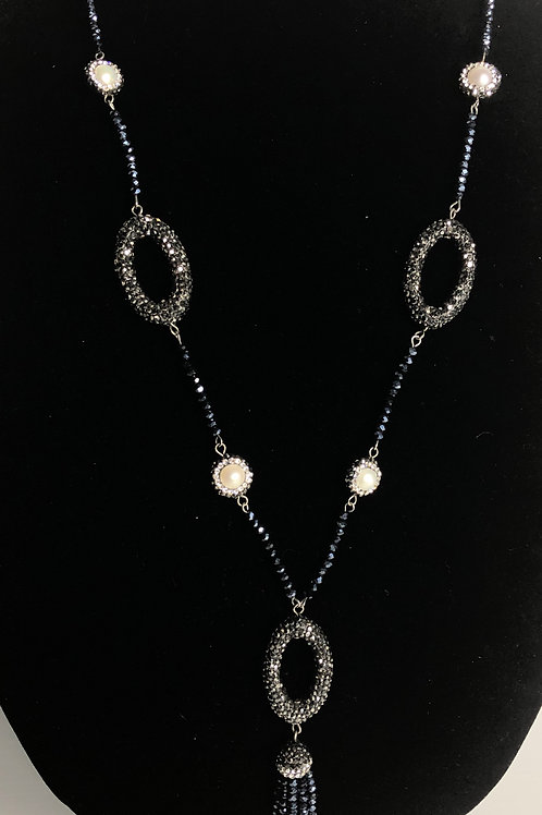 Long beaded navy blue tassel necklace with white FWP