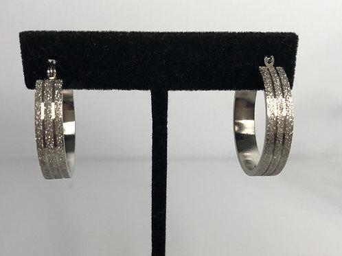 Diamond cut brushed SILVER stainless steel hoop earring
