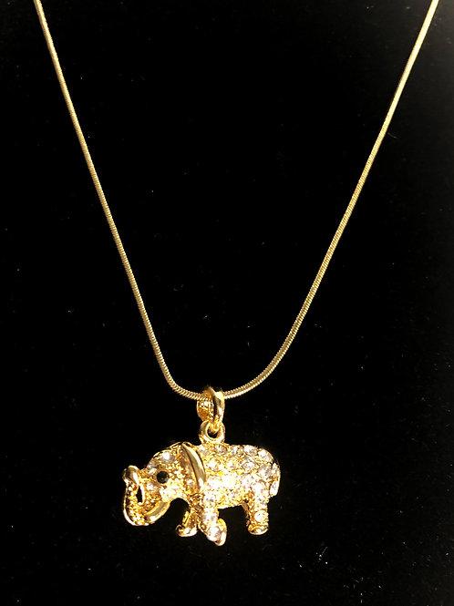 GOLD elephant crystal pendant