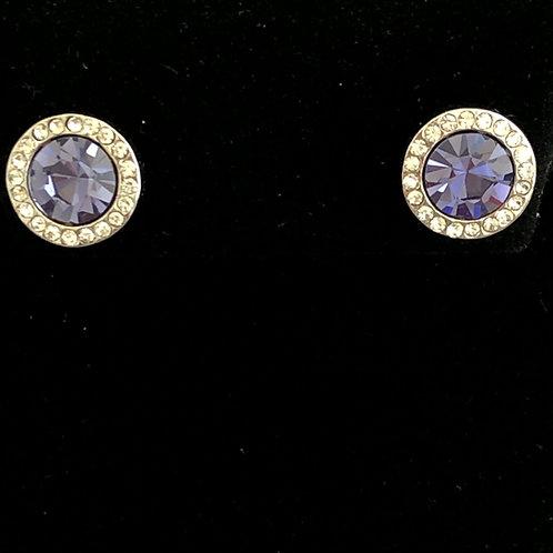 Swarovski crystal stud earrings - PURPLE