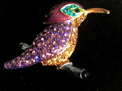 Colorful hummingbird brooch