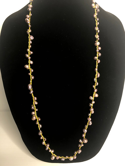 Lilac Freshwater Cultured pearl necklace with gold threading
