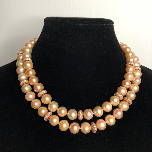 Long peach, orangey tint & white FWP necklace