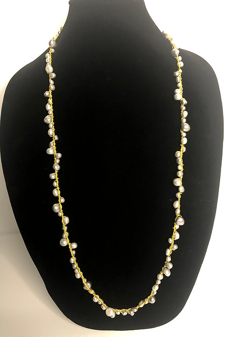 Light Gray FWP necklace with gold threading
