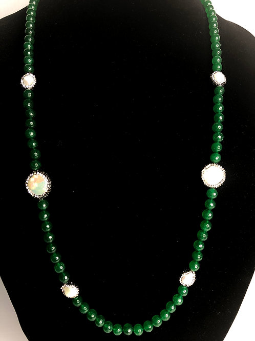 Long green beads with white FWP necklace with coin pearls
