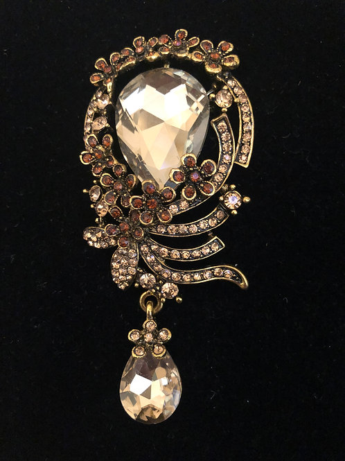 Brown and gold large tear drop Austrian crystal brooch