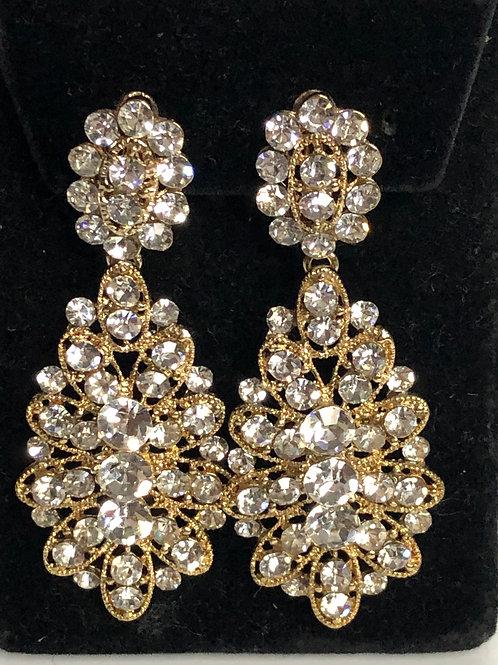 Gold chandalier crystal earring