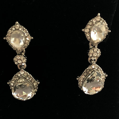 Clear and gold crystal antique pierced earring