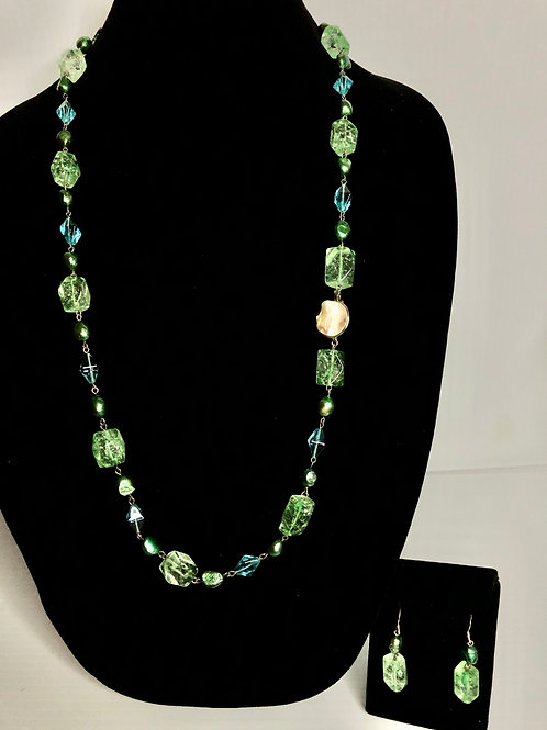 Green FWP WITH blue and green crystals - 3 PIECE SET