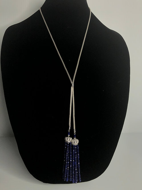 Stainless steel tassel necklace in natural stone SAPPHIRE