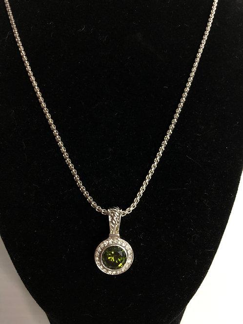 Designer look ROUND silver OLIVE GREEN pendant