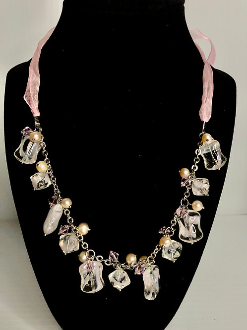 Pink ribbon necklace with FWP and clear crystal necklace