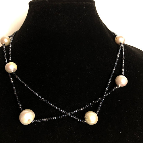 Stainless steel silver necklace with large white baroque mm FWP