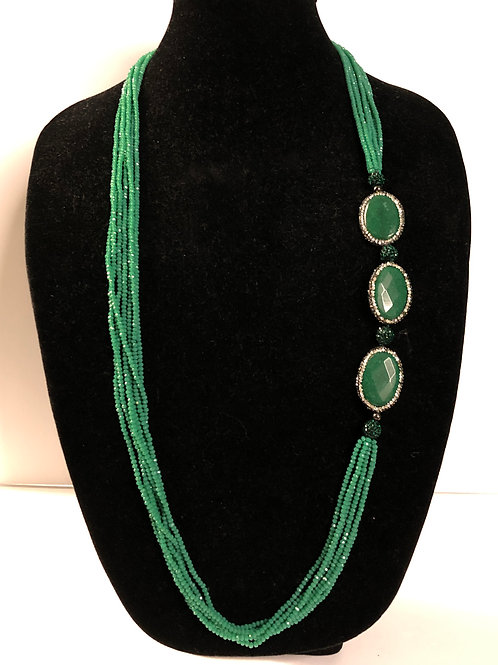 Multi strand green crystal necklace with green jade