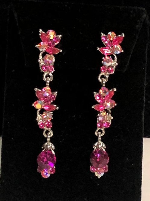 Pink Austrian crystal line drop clip on earring