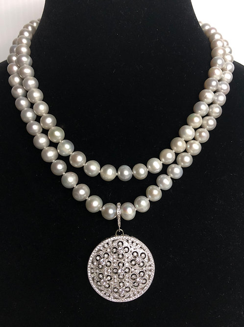 Double strand light gray Freshwater cultured pearl necklace