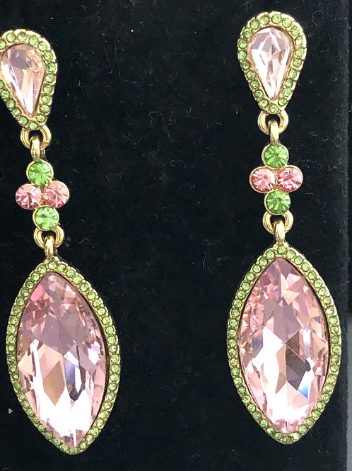 Pink and green Austrian crystal pierced earring