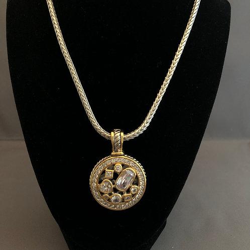 Designer look ROUND CLEARCubic Zircondetachable pendant