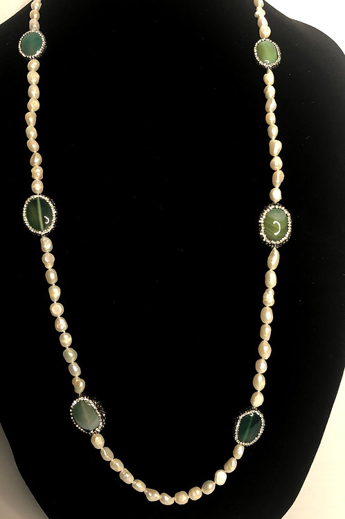 White FWP necklace with GREEN stones and Swarovksi crystals