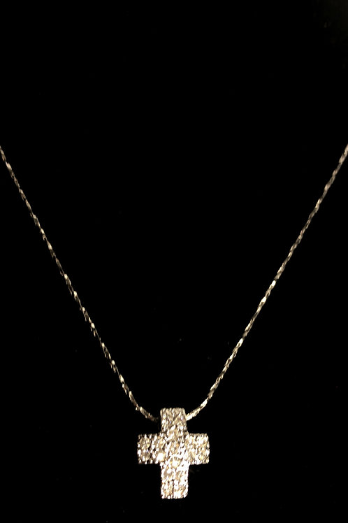 Small clear crystal box cross on silver chain