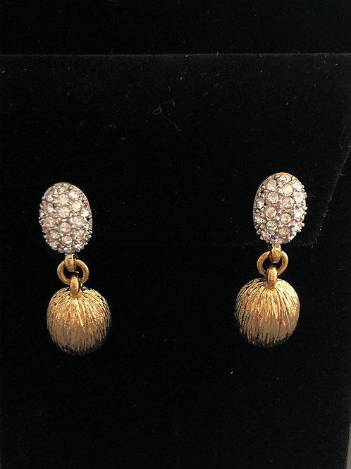 Gold pierced earring with clear Austrian crystal drop