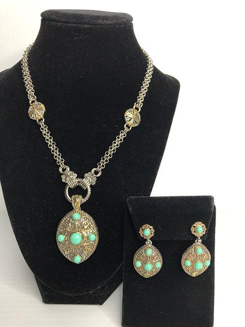 Designer Moroccan two tone pendant & earrings