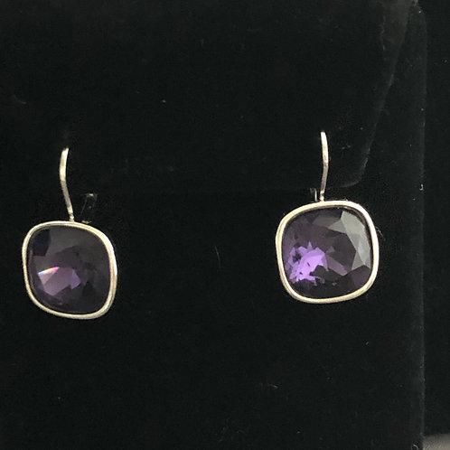 Swarovski crystal lever back earrings -PURPLE
